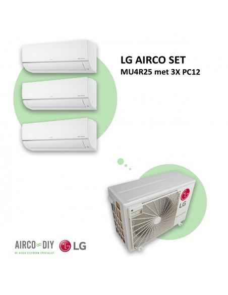 LG AIRCO set  MU4R25 met 3 x PC12