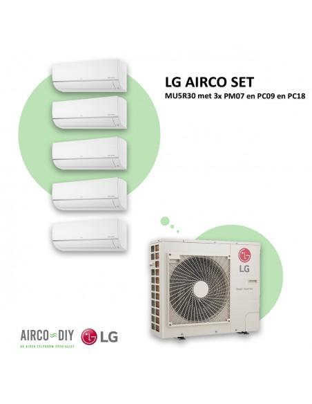 LG AIRCO set  MU5R30 met 3 x PM07 en PC09 en PC18