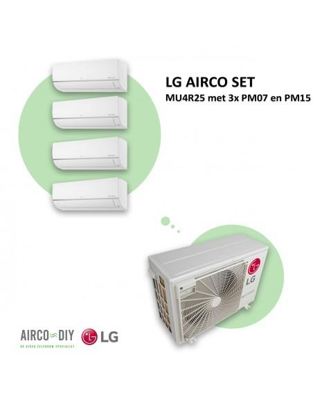 LG AIRCO set  MU4R25 met 3 x PM07 en PM15